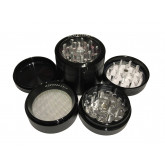 "Sharpstone Classic (2.2"" Inch) Clear Top Herb and Spice Grinder - 4pc, Medium, Black"