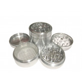 "Sharpstone Classic (2.2"" Inch) Clear Top Herb and Spice Grinder - 4pc, Medium, Silver"
