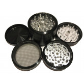 "Sharpstone Classic (2.5"" Inch) Clear Top Herb and Spice Grinder - 4pc, Large, Black"