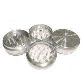 "Sharpstone Classic (2.2"" Inch) Clear Top Push Up Herb and Spice Grinder - 2pc, Medium, Silver"
