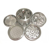 "Sharpstone Classic (2.5"" Inch) Crank Top Herb and Spice Grinder - 4pc, Large, Silver"