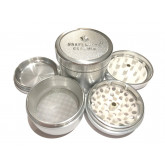 """Sharpstone Ceramic (2.5"""" Inch) Hard Top Herb and Spice Grinder - 4pc, Large, Silver"""