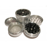 "Sharpstone Version 2.0 (2.2"" Inch) Clear Top Herb and Spice Grinder - 4pc, Medium, Silver"