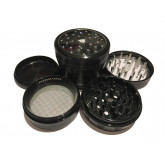 "Sharpstone Version 2.0 (2.5"" Inch) Clear Top Herb and Spice Grinder - 4pc, Large, Black"