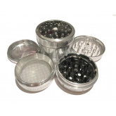 "Sharpstone Version 2.0 (2.5"" Inch) Clear Top Herb and Spice Grinder - 4pc, Large, Silver"