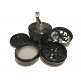 "Sharpstone Version 2.0 (2.5"" Inch) Crank Top Herb and Spice Grinder - 4pc, Large, Black"
