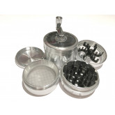 "Sharpstone Version 2.0 (2.5"" Inch) Crank Top Herb and Spice Grinder - 4pc, Large, Silver"